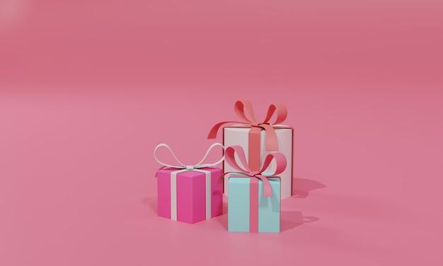 3d 렌더링 평면 그림 선물에 온라인 쇼핑 상점입니다. 프리미엄 일러스트레이션