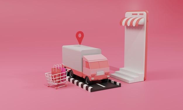 3d 렌더링 평면 그림 스마트 폰의 모바일 응용 프로그램 및 트럭화물 운송에 온라인 쇼핑 저장소. 프리미엄 일러스트레이션