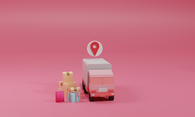 3d 렌더링 평면 그림 모바일 응용 프로그램 및 스마트 폰 트럭에 온라인 쇼핑 상점. 프리미엄 일러스트레이션