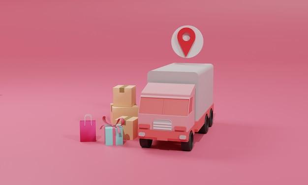 3d 렌더링 평면 그림 모바일 응용 프로그램 및 트럭에 온라인 쇼핑 저장소입니다. 프리미엄 일러스트레이션