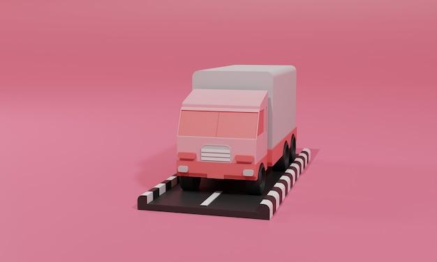 3d 렌더링 평면 그림 트럭화물 배달의 모바일 응용 프로그램에 온라인 쇼핑 저장소. 프리미엄 일러스트레이션