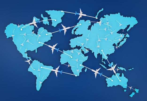 世界地図を使用した3dレンダリング飛行ルート