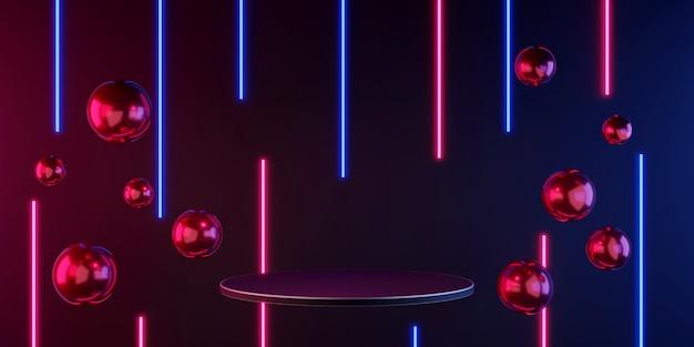 3d 렌더링 플로트 공중 부양 연단 디스플레이 검정색과 어두운 제품 선반 스탠딩 글로우 네온 라이트
