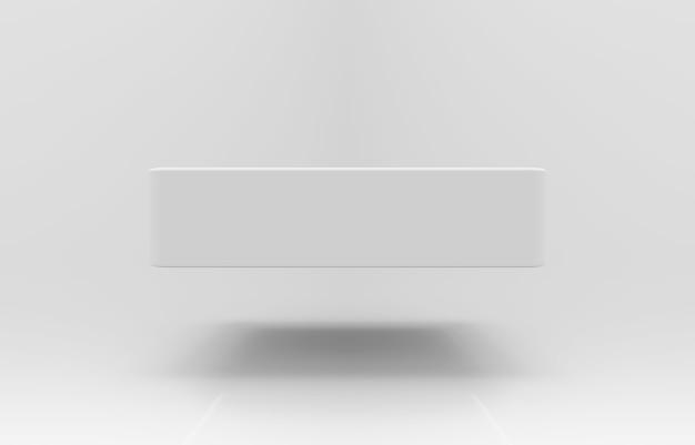 3d 렌더링. 배경에 그림자가있는 빈 사각형 상자를 떠 있습니다. 프리미엄 사진