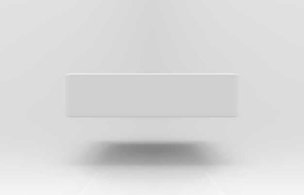 3d rendering. floating an empty rectangle box with shadow on background.