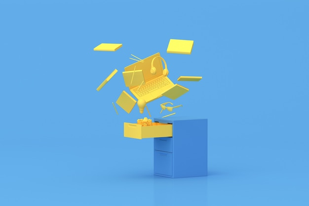 3d rendering of floating laptop and office accessories, tools from cabinet on blue background.
