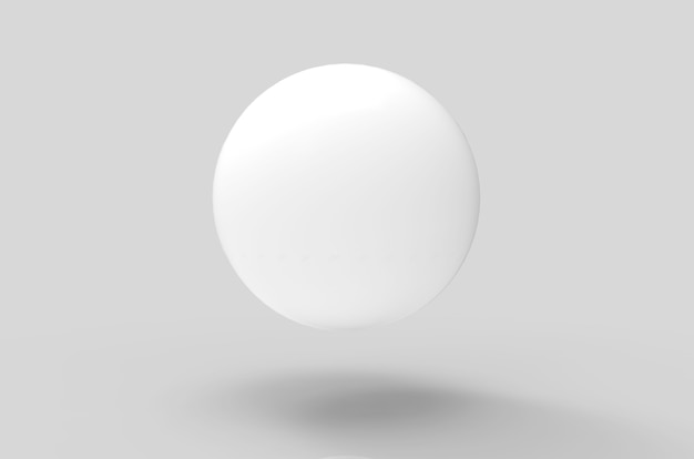 3d rendering. floating white sphere with shadow on the floor background.