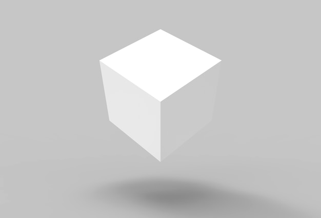 3d rendering. floating white spin box cube with shadow on the floor background.