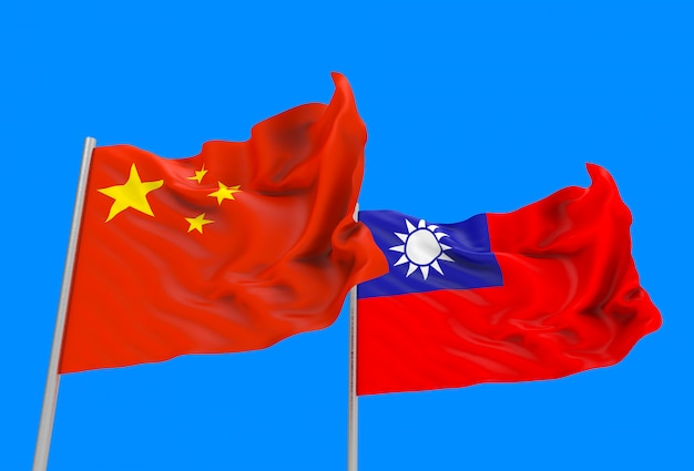 3d rendering. flowing china and taiwan national flags with clipping path isolated on blue sky .