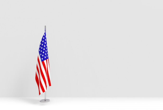 3dレンダリング。空の灰色のセメントの壁のステージに折りたたみアメリカ合衆国州旗極表彰台。