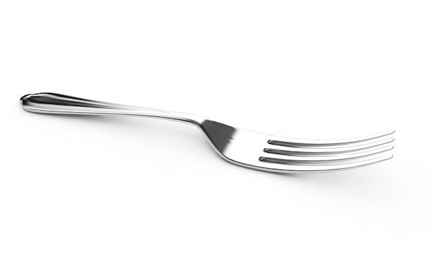 3d rendering of fork on white background