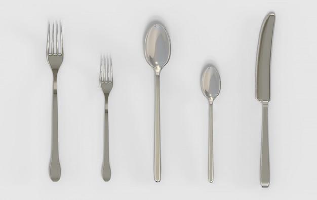 3d-рендеринг. вилки ложка и нож серебро