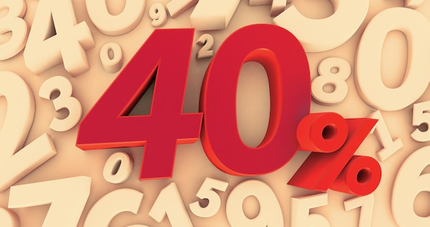 3d rendering of a forty percent symbol on numbers background. 40%. sale of special offers. discount with the price is 40%.