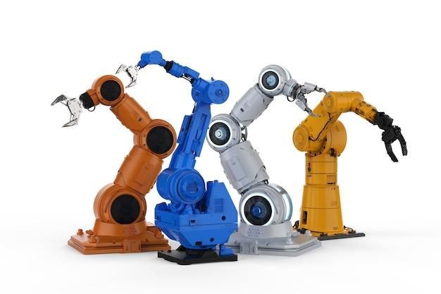 흰색 배경에 3d 렌더링 4 개의 로봇 팔