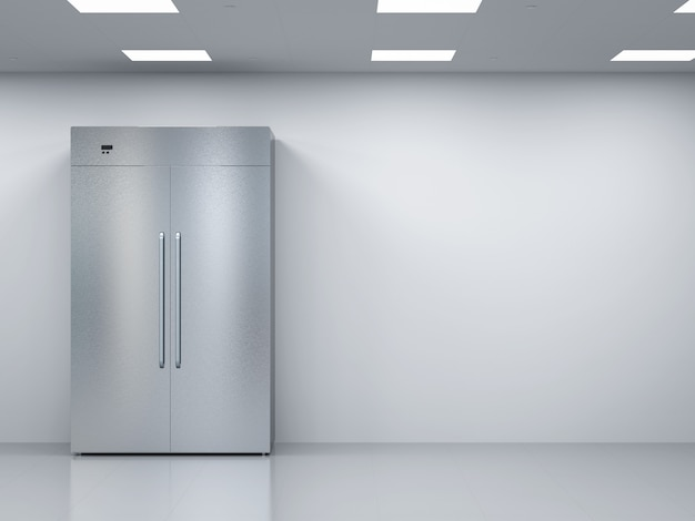 빈 방에 문이 나란히 있는 3d 렌더링 냉장고