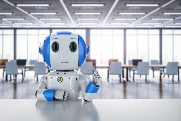 3d rendering friendly robot sit on desk in office or workspace
