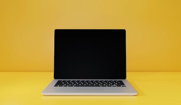 黄色い机の上のラップトップの3dレンダリング前面と壁の背景トレンドアイテム通知ポップアップ