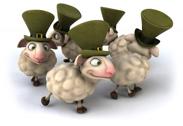 3d rendering of funny sheeps