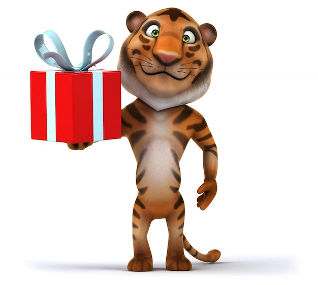 3d rendering of funny tiger