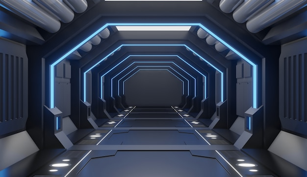 3d rendering  furnished spaceship interior with blue light