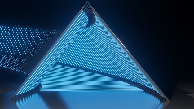3d rendering, futuristic abstract neon background, glow line, triangle tunnel, corridor, empty ultraviolet neon light.