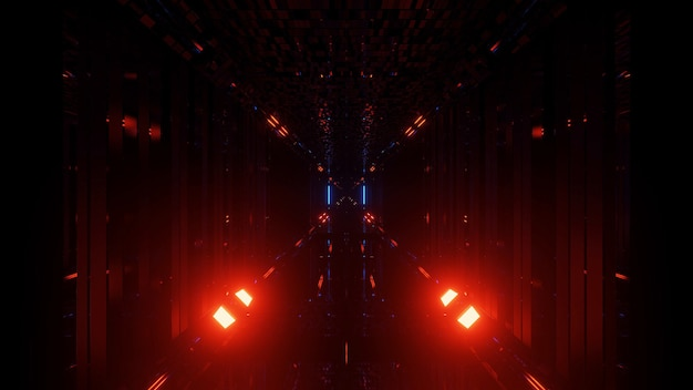 A 3d rendering of a futuristic background with neon red and blue lights
