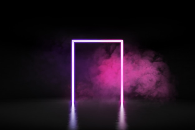 3d rendering of futuristic glowing neon lights in square shape and smoke on concrete floor.