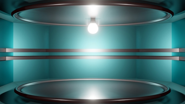 3d rendering futuristic interior abstract background with an empty stage.