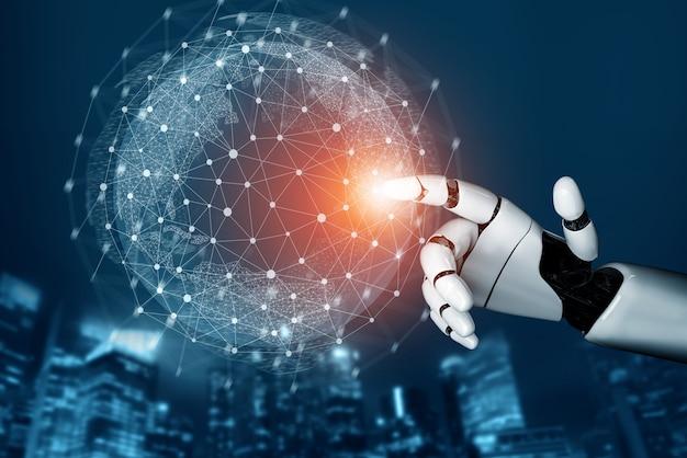 3d 렌더링 미래형 로봇 기술 개발, 인공 지능 ai 및 기계 학습 개념. 인류의 미래를위한 글로벌 로봇 생체 공학 연구.