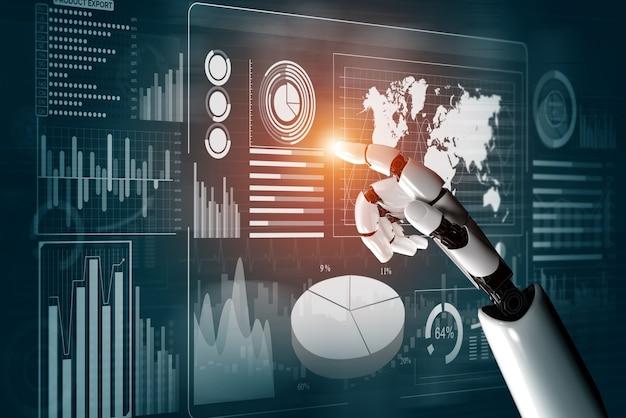 Развитие технологий футуристических роботов 3d-рендеринга, искусственного интеллекта ai и концепции машинного обучения. глобальные роботизированные бионические научные исследования для будущего человеческой жизни.