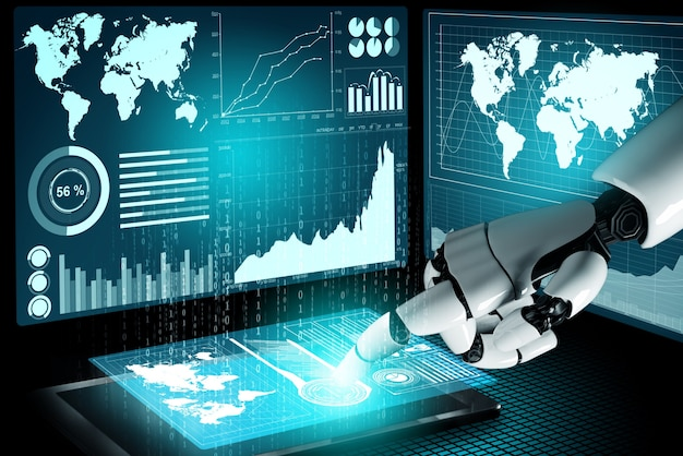 3dレンダリングの未来的なロボット技術開発、人工知能ai、機械学習の概念。人間の生命の未来のための世界的なロボット生体工学研究。