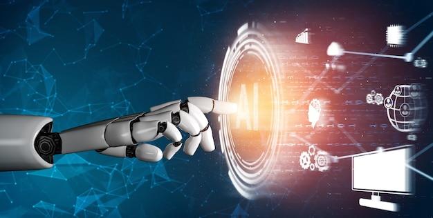 3d 렌더링 미래형 로봇 기술 개발, 인공 지능 ai 및 기계 학습 개념