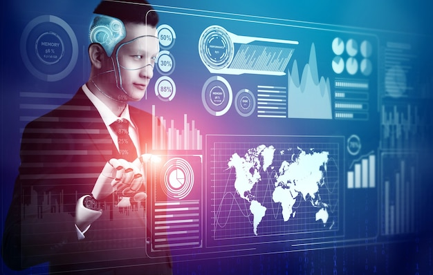 3dレンダリングの未来的なロボット技術開発、人工知能ai、機械学習の概念