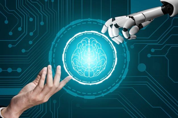 Развитие технологий футуристических роботов 3d-рендеринга, искусственный интеллект ai и концепция машинного обучения