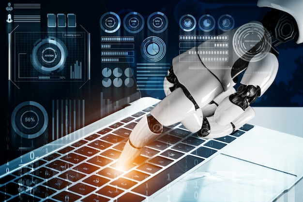 3d rendering futuristic robot technology development, artificial intelligence ai, and machine learning concept