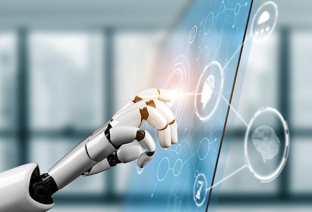 3dレンダリングの未来的なロボット技術開発
