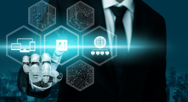 3d rendering futuristic robot technology development