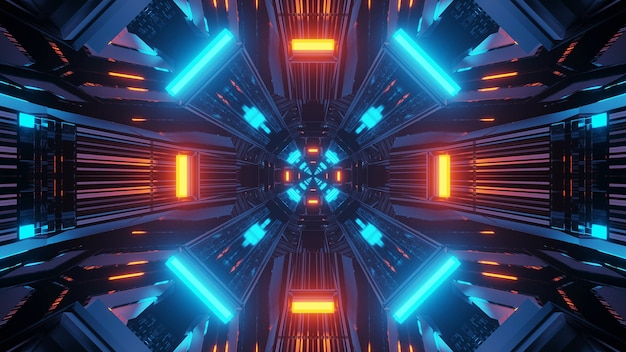 3d-рендеринг футуристических научно-фантастических техно-огней - крутой фон
