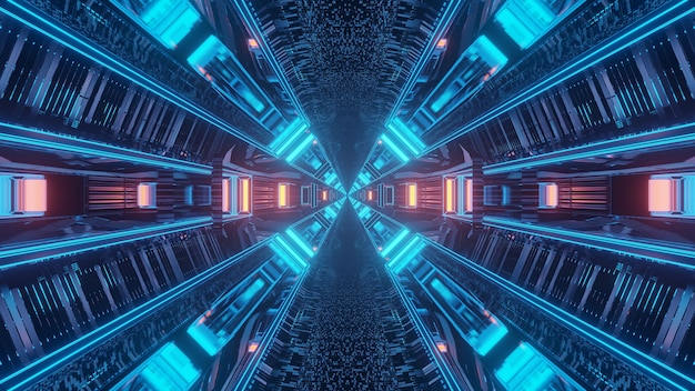 Rendering 3d futuristico sci-fi techno luci di sfondo