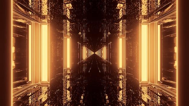 Rendering 3d futuristico sci-fi techno luci-uno sfondo cool