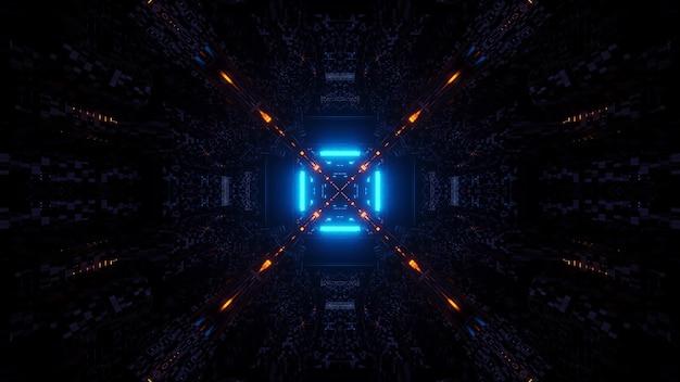 3d-рендеринг футуристических научно-фантастических техно-огней, создающих крутые формы - крутой фон