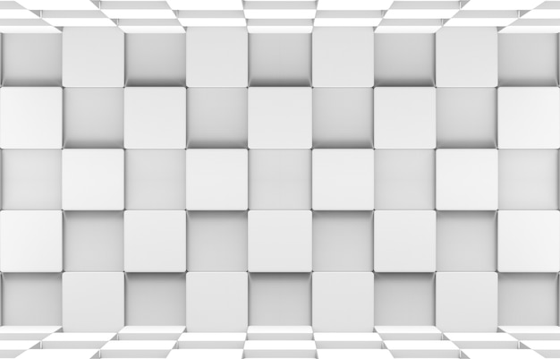 3d-рендеринг. футуристические белые квадратные круглые кубические коробки укладывают стены и пол дизайн фона искусства.