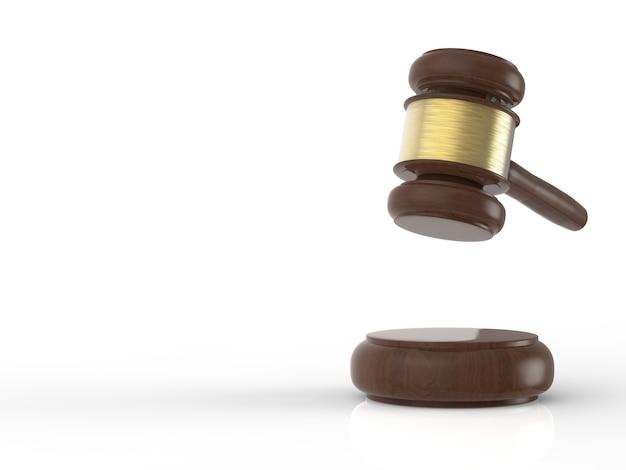白い背景の上の3dレンダリングガベル裁判官