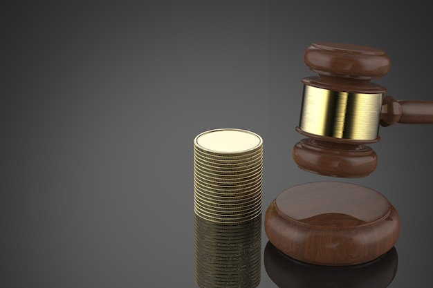 3d rendering gavel judge with stack of coins