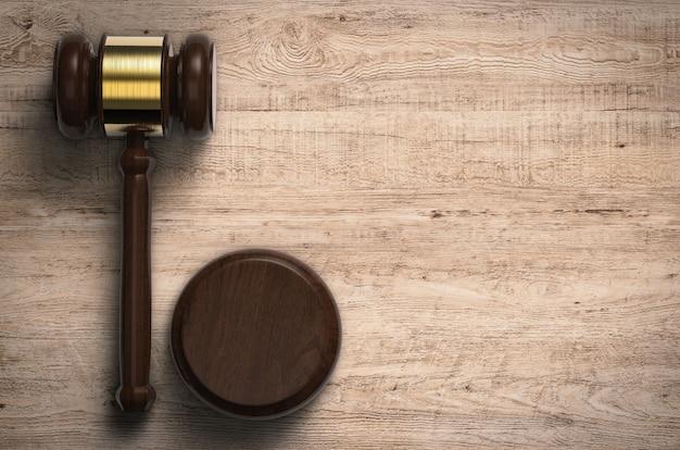 3d rendering gavel judge on wooden background