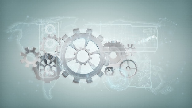 3d rendering gear wheel interface isolated