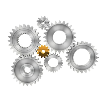 3d rendering gears isolated