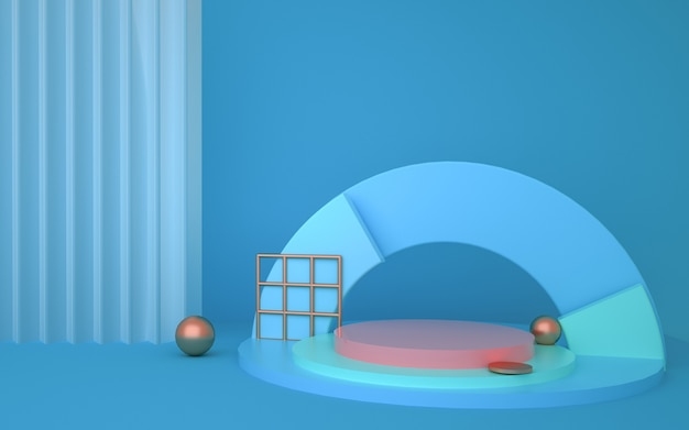 3d rendering of geometric abstract background with semicircle podium for product display