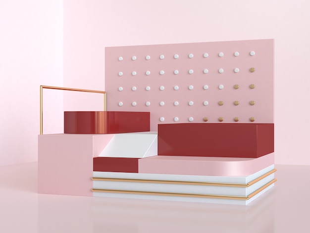 3d rendering geometric abstract pink red steps podium scene