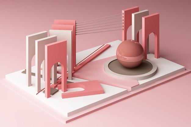 핑크 톤 컬러로 3d 렌더링 기하학적 구성